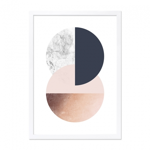 Cult Living Circle Abstract Print Framed Poster, Pink and Copper, A2
