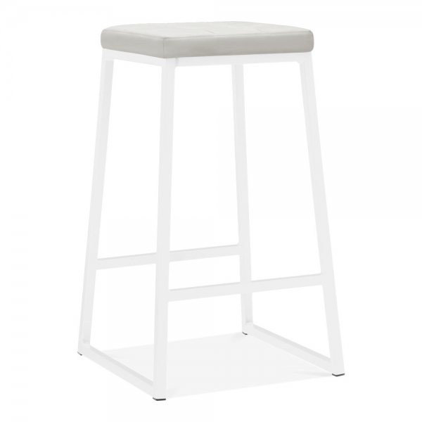 Magnificent Consec Metal Bar Stool Faux Leather Seat White 70Cm Gmtry Best Dining Table And Chair Ideas Images Gmtryco