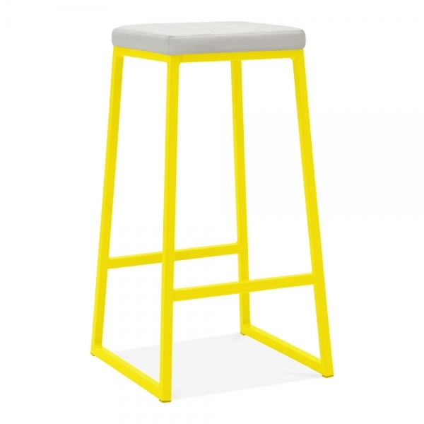 Stupendous Consec Metal Bar Stool Faux Leather Seat Yellow 75Cm Gmtry Best Dining Table And Chair Ideas Images Gmtryco