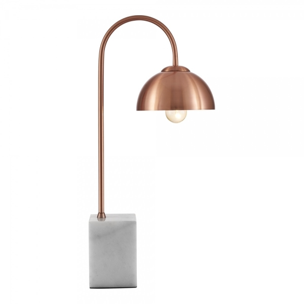 Copper Conway Arc Table Lamp With Marble Base Modern Lighting