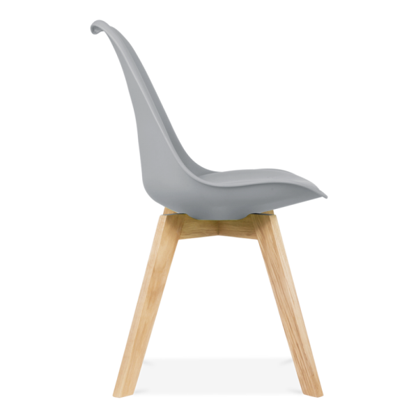 High Quality Cool Grey Dining Chairs With Solid Oak Crossed Wood Leg Base
