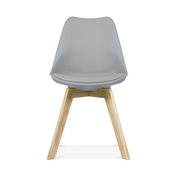 Superb Cool Grey Dining Chairs With Solid Oak Crossed Wood Leg Base