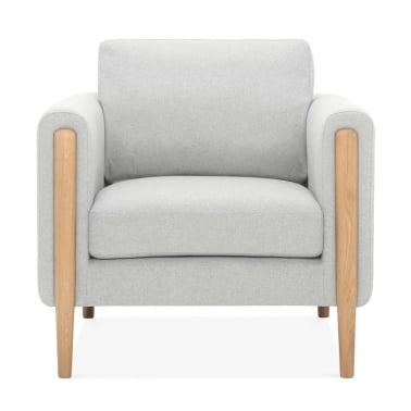 Crawford Armchair, Fabric Upholstered, Light Grey
