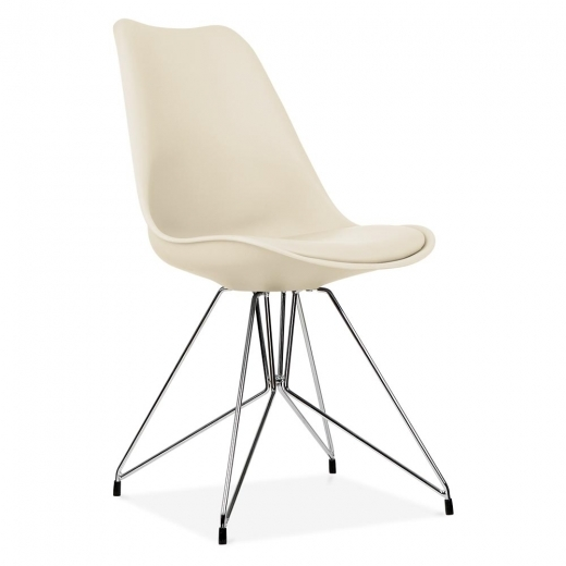 Eames Inspired Cream Dining Chair with Geometric Metal Legs