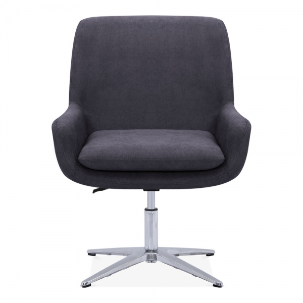 dark grey frabic upholstered cromwell lounge chair swivel chairs