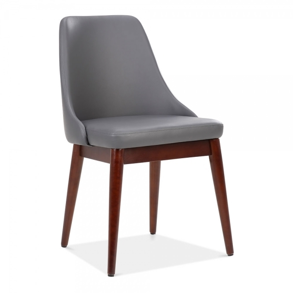 Cult Living Alexis Wooden Dining Chair Faux Leather Upholstered Dark Grey