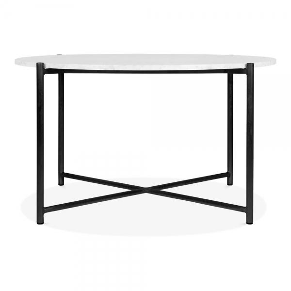 Aria Round Coffee Table White Marble Top Black