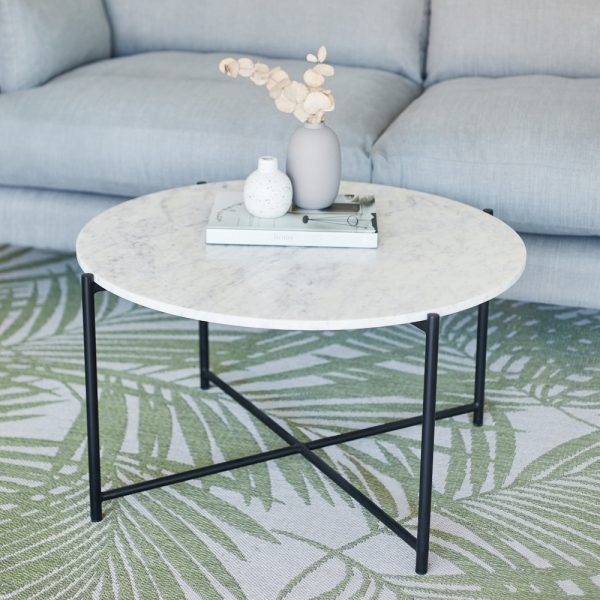 White Marble Aria Round Coffee Table Modern Coffee Tables