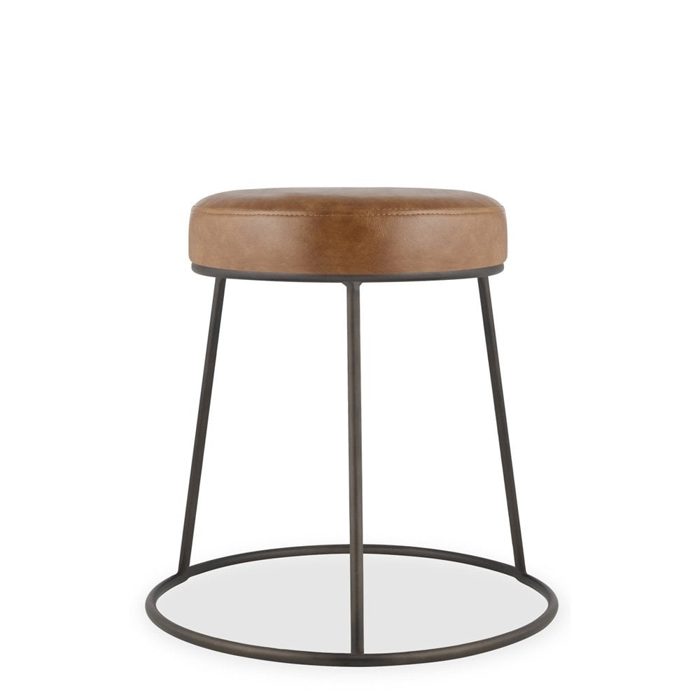 Rustic Metal Austen Low Stool With Upholstered Seat Modern Bar Stools