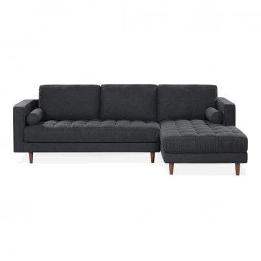 Avia Right Hand Corner Sofa Fabric Upholstered Dark Grey