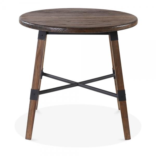 Dark Brown Wood Bastille Round Dining Table Dark Brown 80cm