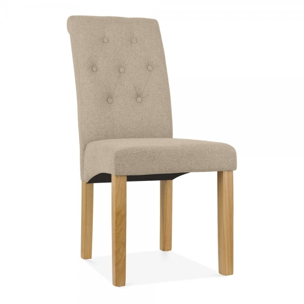 Belgrave High Back Dining Room Chair, Fabric Button Detail, Cream