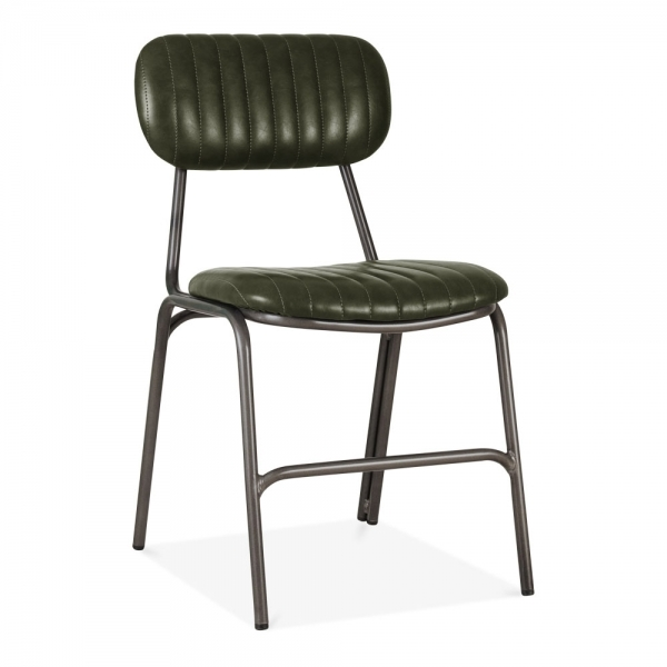 Dark Green Leather Upholstered Boston Dining Chair