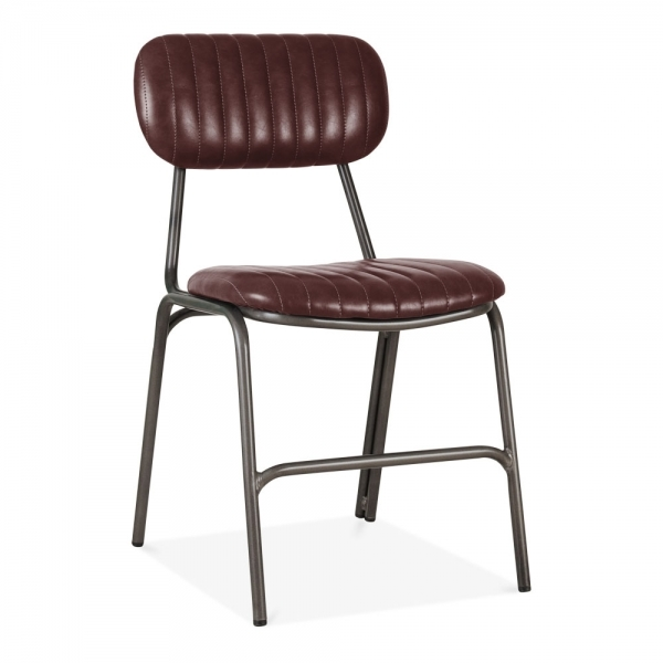 Dark Red Leather Upholstered Boston Dining Chair Modern Dining Chairs