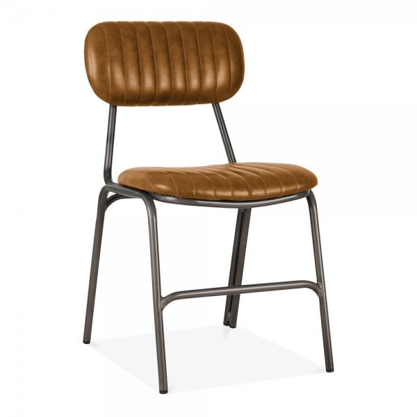 Tan Leather Upholstered Boston Dining Chair Modern Dining Chairs