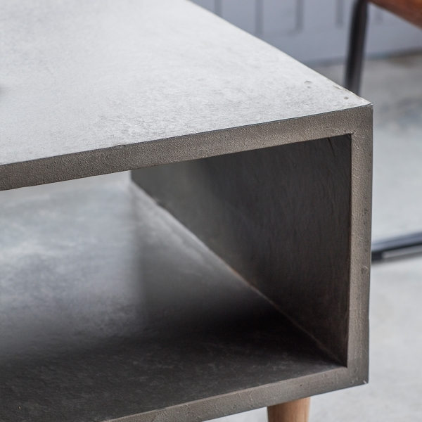 Brooklyn Contemporary Cube Coffee Table Faux Concrete