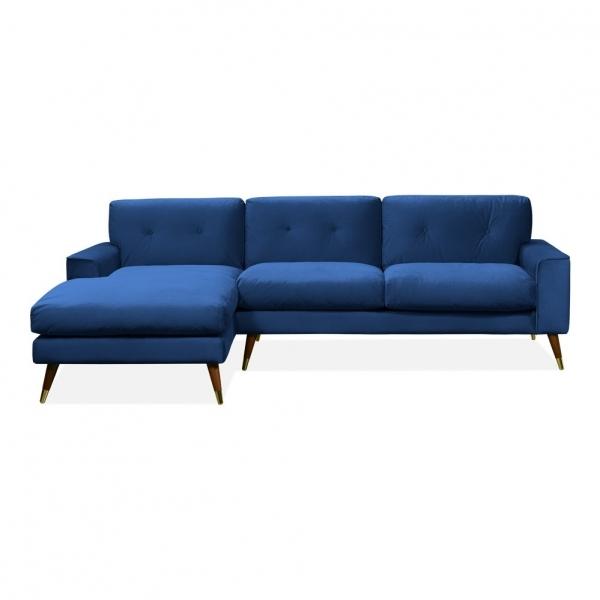 Charlotte Left Hand Chaise Corner Sofa, Velvet Upholstered, Royal Blue