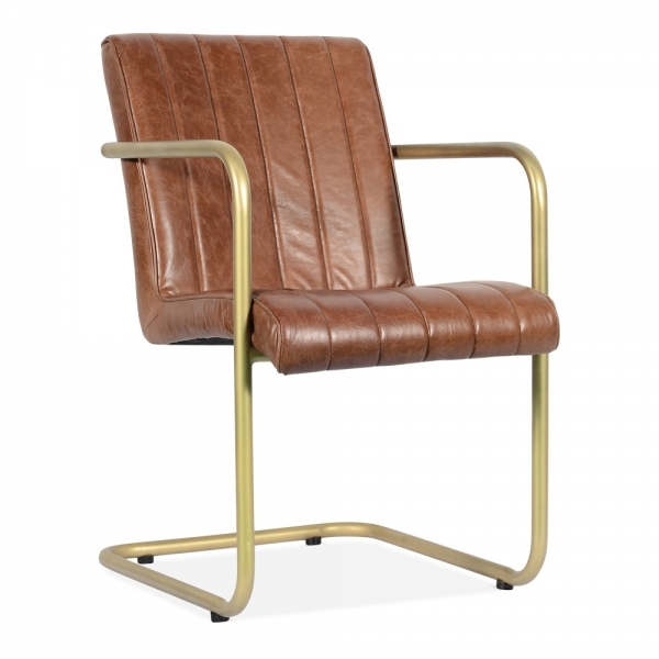 Tan Leather Compton Industrial Dining Chair Dining Room Chairs