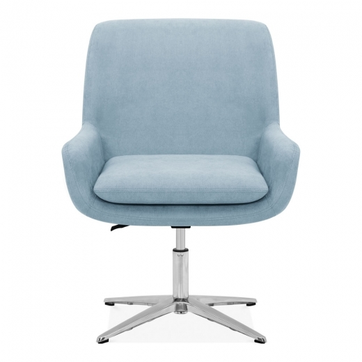 Light Blue Cromwell Swivel Lounge Chair Fabric Upholstered