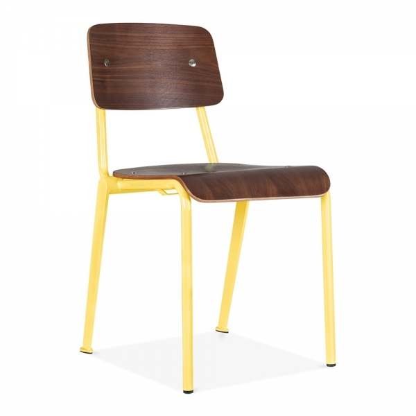 Cult Living French School Chair With Wood Finish Option Yellow