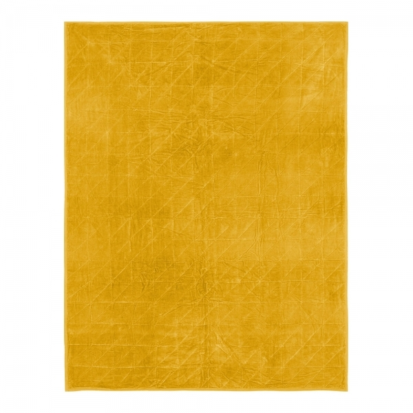 Mustard Velvet Quilted Throw Luxury Throws Blankets Bedspreads
