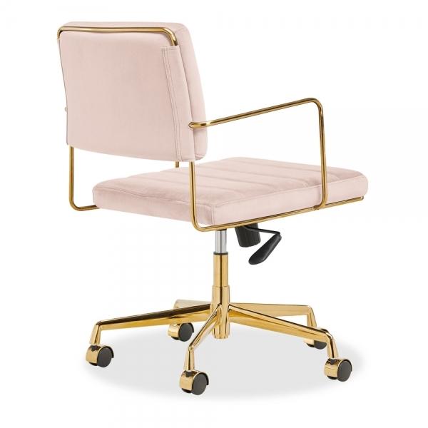 Cult Living Grosvenor Padded Velvet Office Chair Light Pink And Gold Cult Uk
