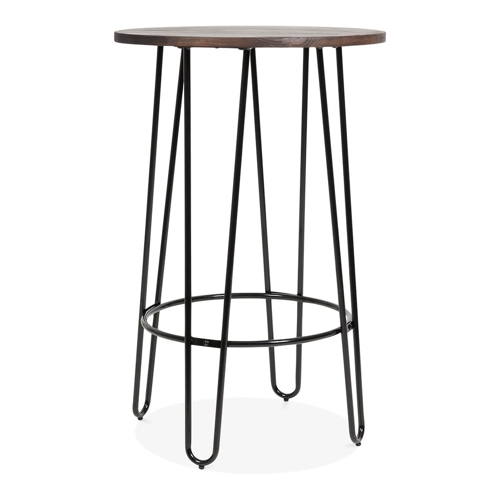 Cult Living Hairpin High Table In Black With Solid Wood Top Cult Uk