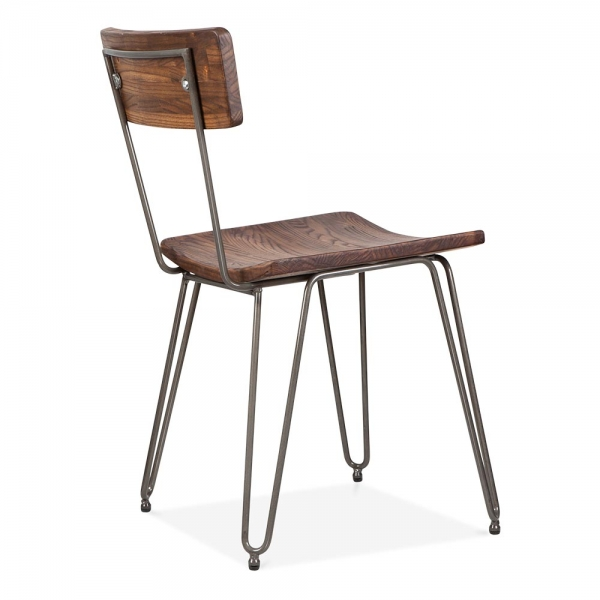 Delicieux Cult Living Hairpin Chair With Wood Seat   Gunmetal