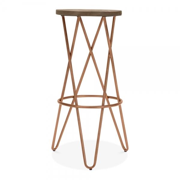 Vintage Copper 75cm Hairpin Crossed Leg Stool With Dark