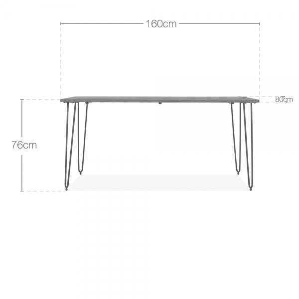 Hairpin Dining Table Set 1 4 Chairs White 160cm