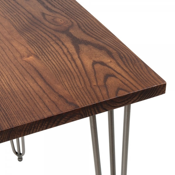 Table With Solid Wood Top Gunmetal 82cm