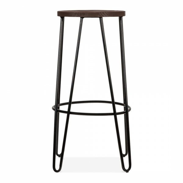 Amazing Hairpin Stool Solid Elm Wood Seat Black 76Cm Pdpeps Interior Chair Design Pdpepsorg