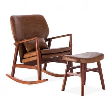 Hampton Rocking Chair With Footstool, Faux Leather Upholstery, Tan