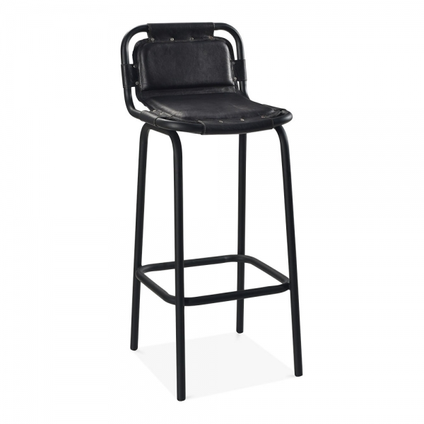 Remarkable Jupiter Industrial Metal Bar Chair With Backrest Genuine Leather Black 75Cm Machost Co Dining Chair Design Ideas Machostcouk