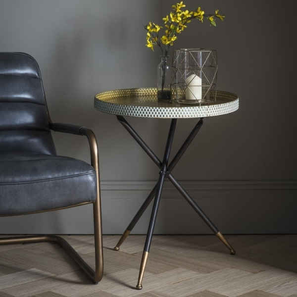 Cult Living Lily Contemporary Tripod Side Table, Black And Gold