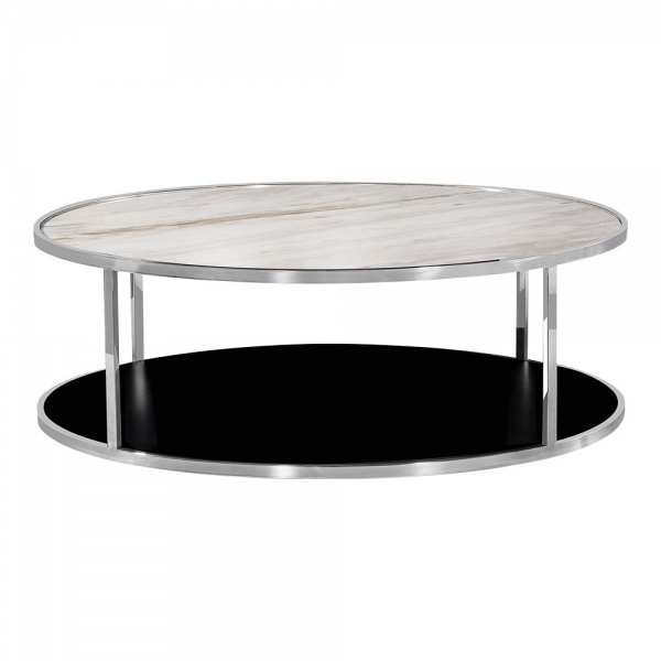 Round Coffee Tables With Marble Top: Chrome Luxor Coffee Table White Marble Top