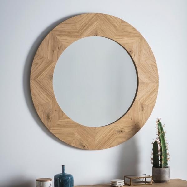 Lysia Round Wall Mirror Oak Modern Wall Mirrors
