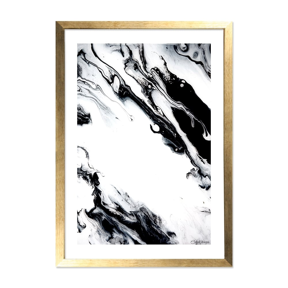 Marble Print Framed A2 Poster Wall Art