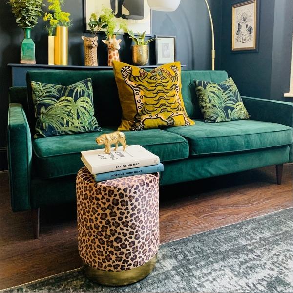 Excellent Cult Living Marie Footstool Velvet Upholstered Forest Green Theyellowbook Wood Chair Design Ideas Theyellowbookinfo
