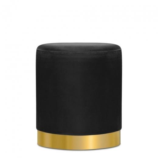 Velvet Upholstered Onyx Black Marie Ottoman Art Deco