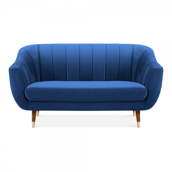 Melvin 2 Seater Sofa, Velvet Upholstered, Royal Blue