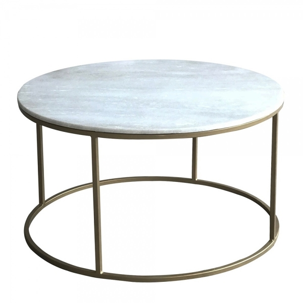 Cult Living Monroe Round Coffee Table White Marble Effect