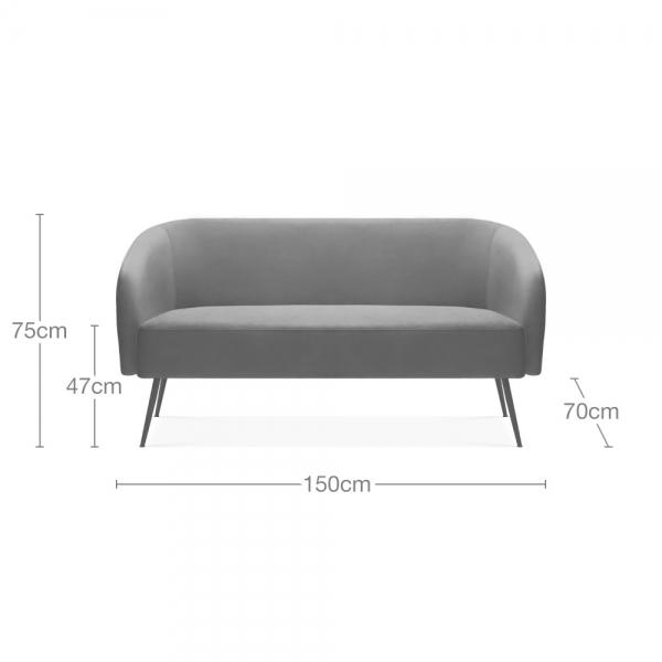 Grey Velvet Nashville 2 Seater Sofa
