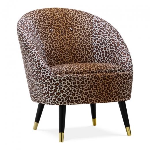 Leopard Print Fabric Nikitta Tub Chair Armchairs
