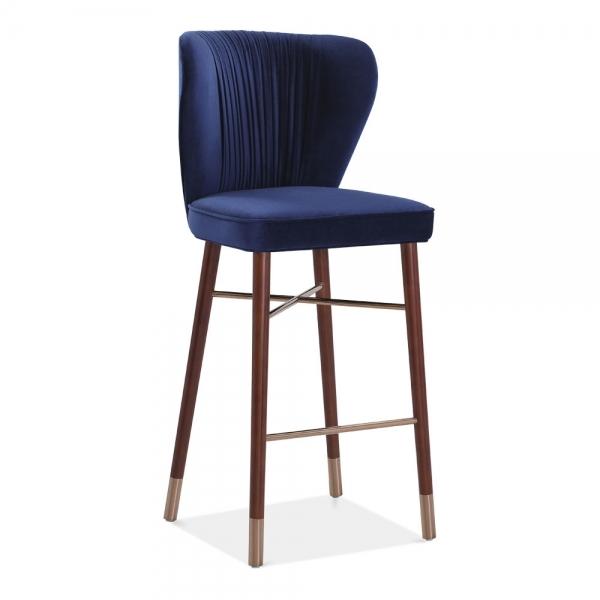 Prime Noa Luxury Bar Stool With Backrest Velvet Upholstered Royal Blue 76Cm Machost Co Dining Chair Design Ideas Machostcouk