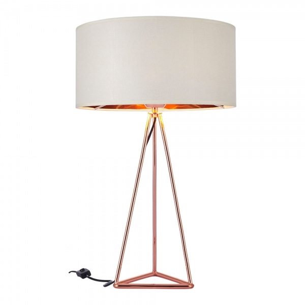 Copper And White Orion Tripod Table Lamp Modern Table Lamps
