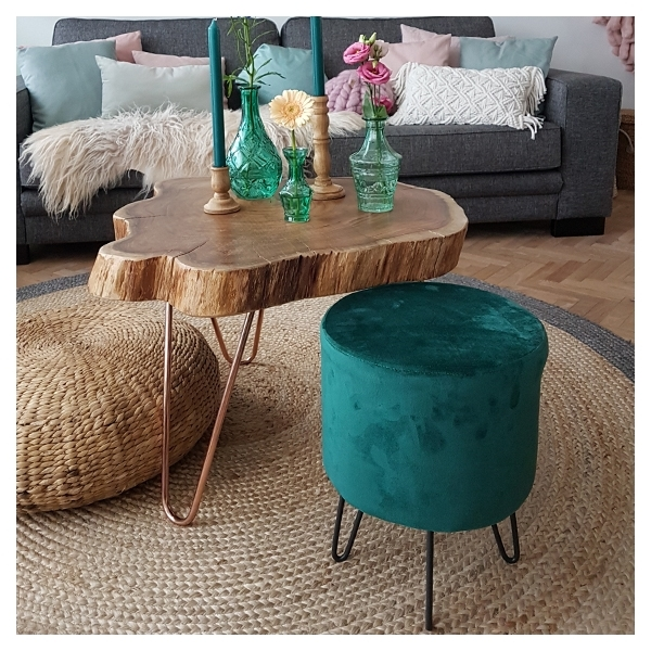Admirable Paloma Round Footstool Velvet Upholstered Forest Green Theyellowbook Wood Chair Design Ideas Theyellowbookinfo