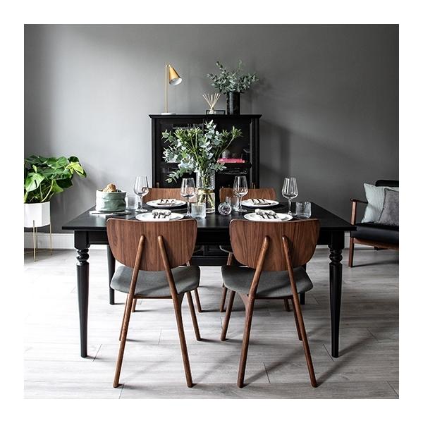 Walnut Finish Poppy Wooden Dining Chair Dark Grey Upholstered Cult Uk