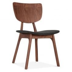 Poppy Wooden Dining Chair, Dark Grey Upholstered, Walnut Finish
