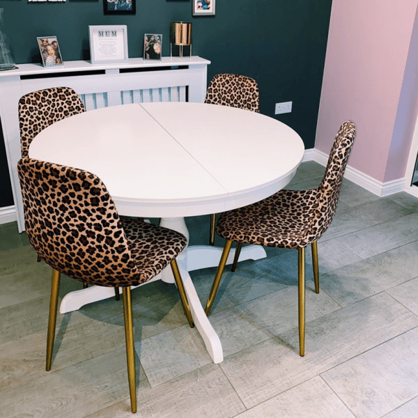 Leopard Print Velvet Rayner Dining Chair Upholstered Dining Chairs